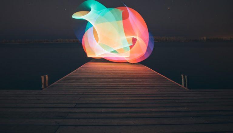 Lake Light Painting Minimalism 1336x768 768x441