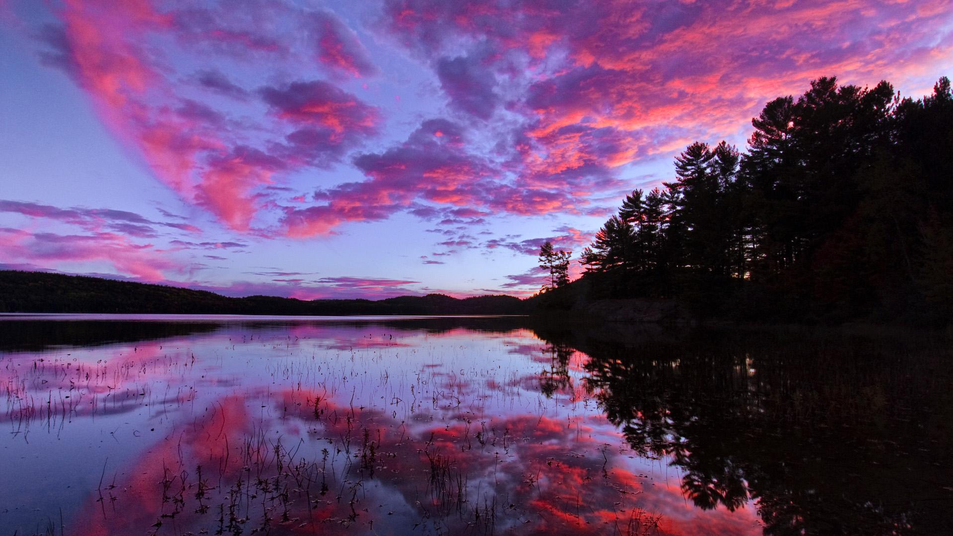 красно-розовый закат скачать