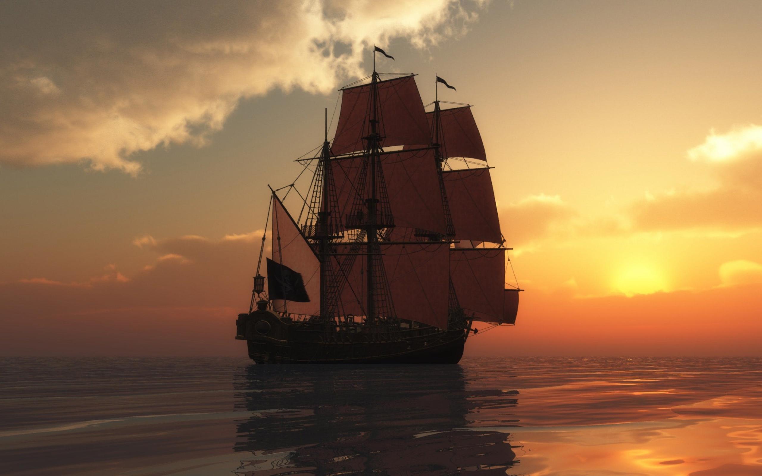 корабли на закате  № 3504023 бесплатно