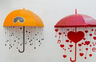 Umbrellas Drawing Heart 3840x2160 340x220