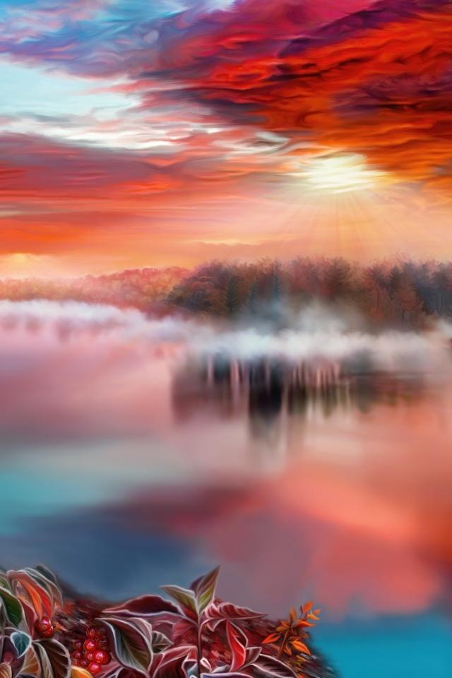 Artistic River Hp Wallpaper 640 x 960