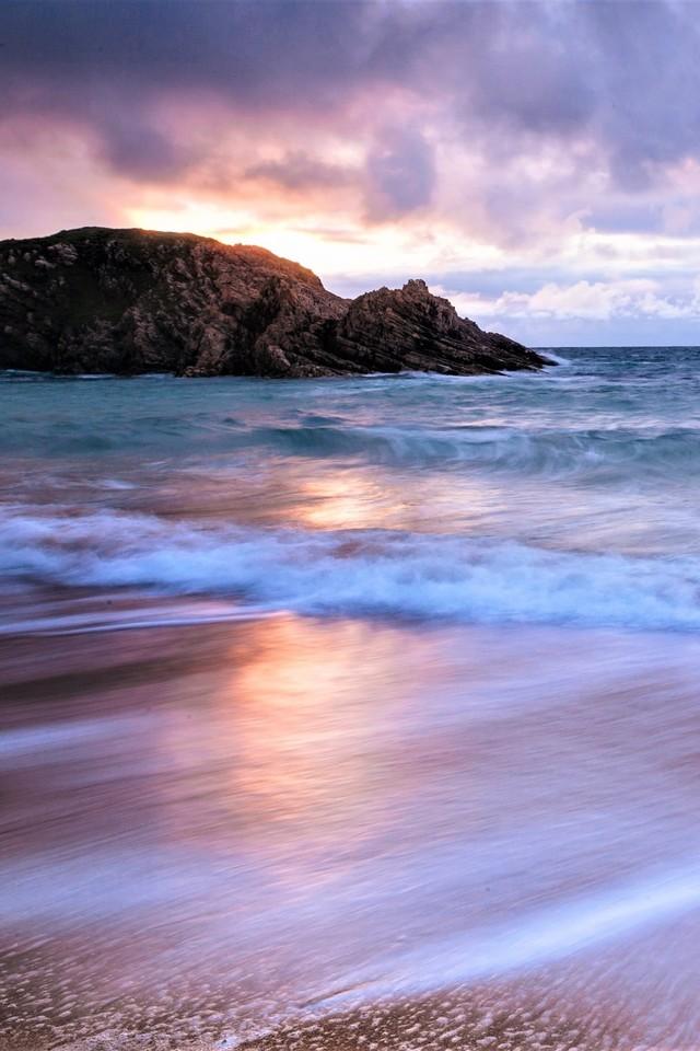 Beach Cloud Earth Horizon Ocean Purple Sea F8 Wallpaper 640 x 960