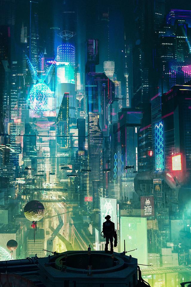 Cyberpunk City Rt Wallpaper 640 x 960