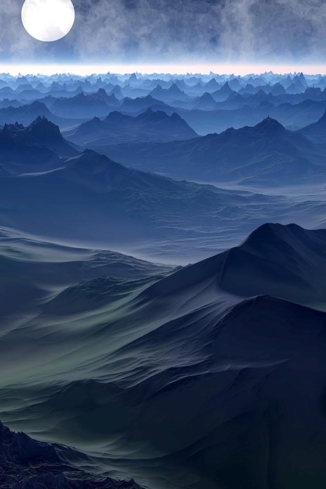 Fantasy Landscape Mountains In Fantasy World J4 Wallpaper 640 x 960