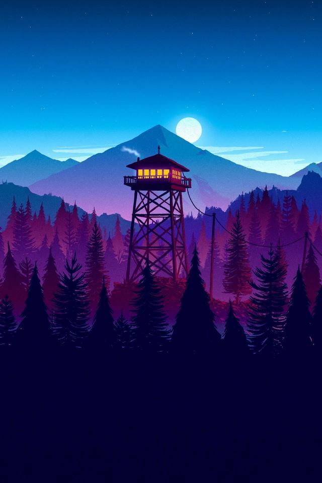 Firewatch Sunset Artwork 3x Wallpaper 640 x 960