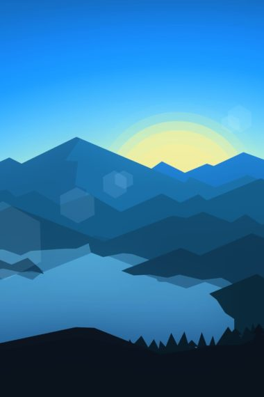 Forest Mountains Sunset Cool Weather Minimalism Yn Wallpaper 640 x 960 380x570