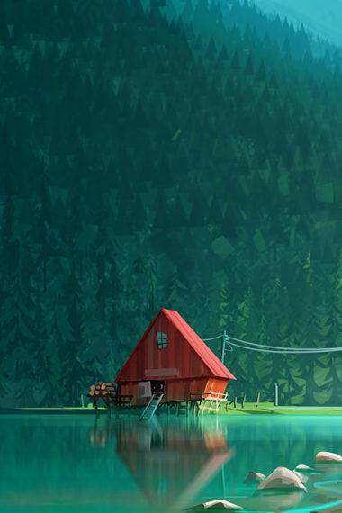 House In Woods Minimalism Artwork Kk Wallpaper 640 x 960 380x570