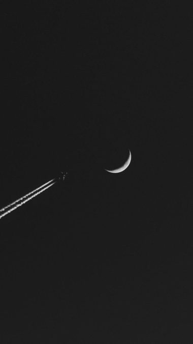 Airplane Moon Minimalism Wallpaper 1080x1920 380x676