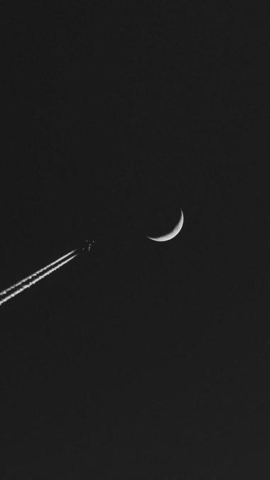 Airplane Moon Minimalism Wallpaper 1080x1920 380x676