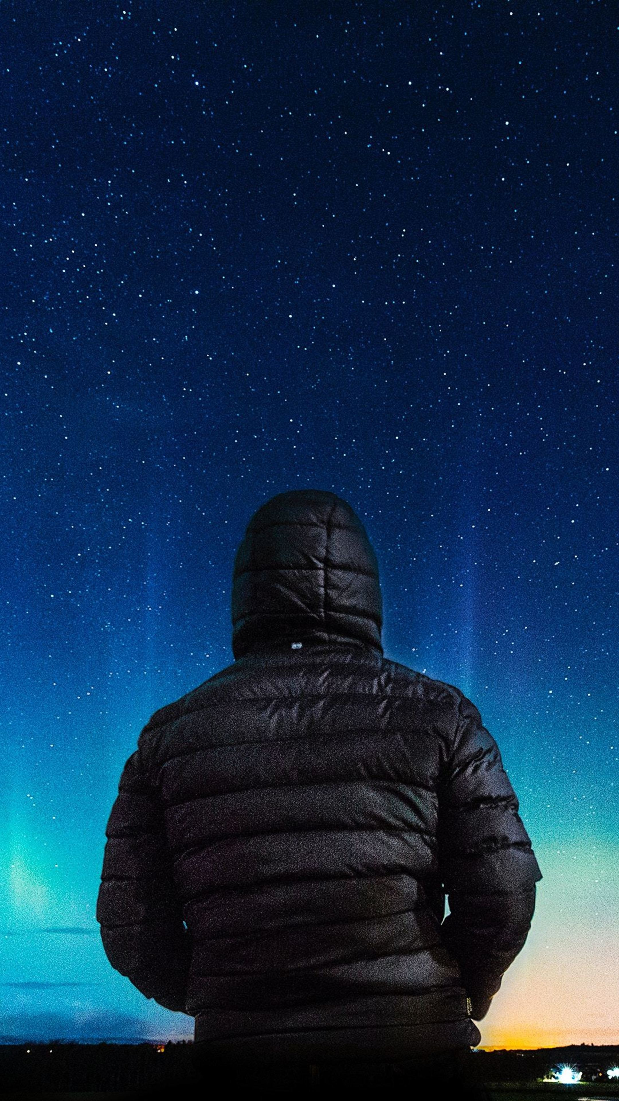 Alone boy in hoodie looking towards colorful sky g0 wallpaper 2160x3840