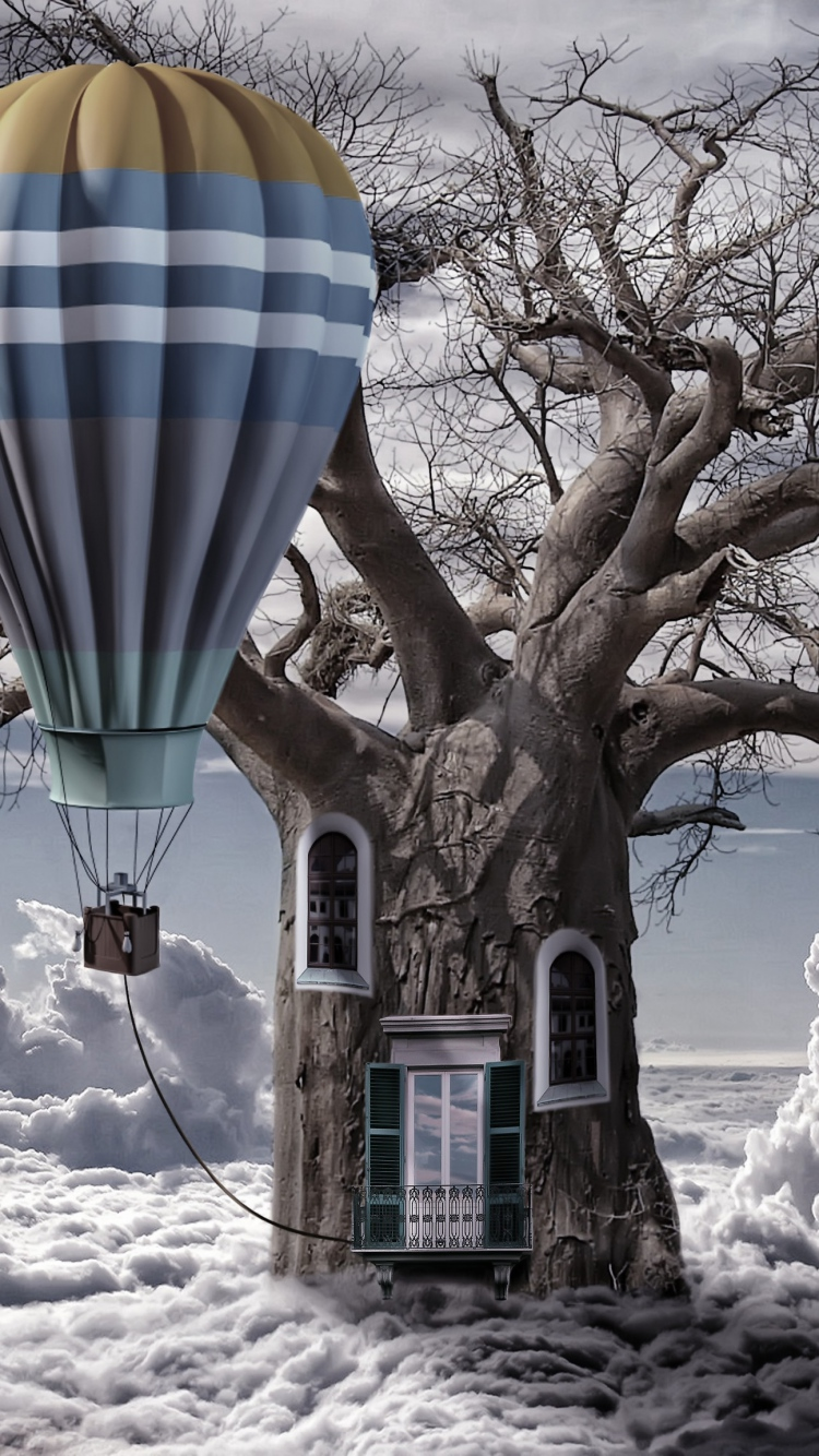 Balloon Clouds Tree Trunk