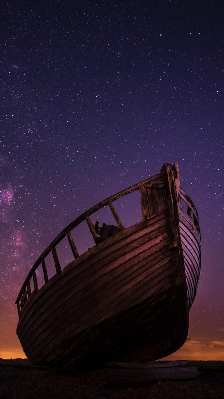 Boat Starry Sky Night Wallpaper 720x1280