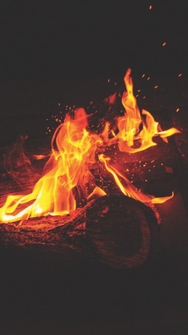 Bonfire Fire Flames Sparks Wallpaper 2160x3840 380x676