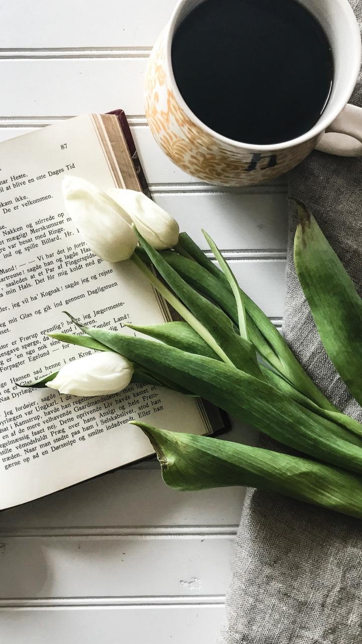 Book Tulips Coffee Wallpaper 720x1280