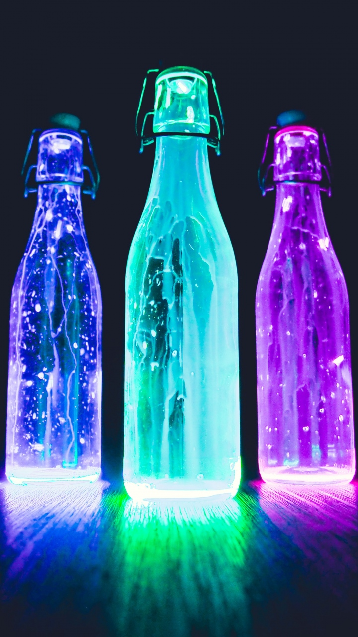 Bottles Neon Light Liquid Wallpaper 720x1280
