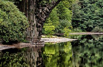 Bridge Arch Trees River Reflection Wallpaper 720x1280 340x220