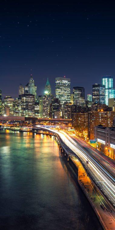 City Night Raod Wallpaper 1080x2160 380x760