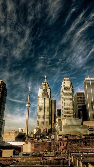 City Toronto Canada Sky Clouds Houses 380x676