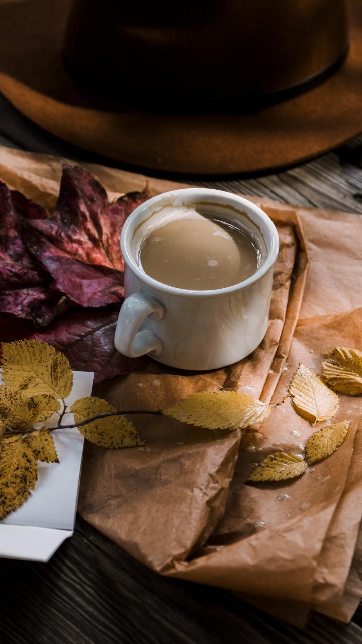 Coffee Autumn Hat Foliage Wallpaper 720x1280