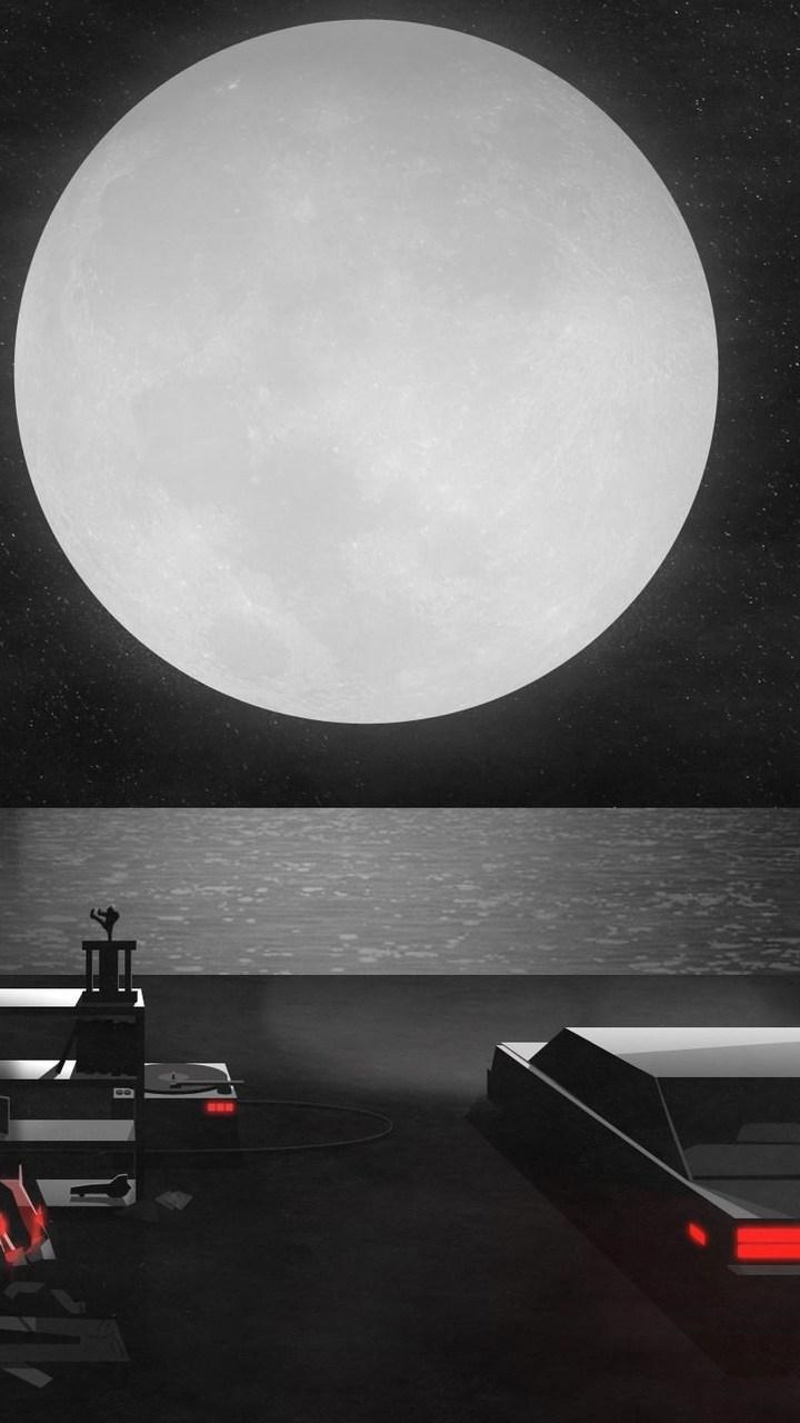 Digital Art Car Moon Wallpaper 720x1280