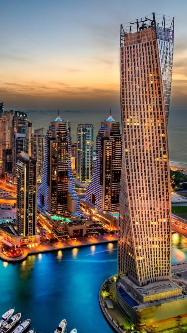 Dubai Uae Building Skyscrappers Night Wallpaper 720x1280 380x676