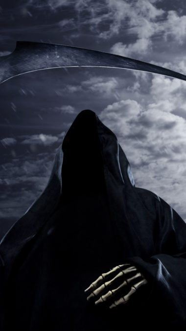 Faceless Death Scythe Rain Sky Night Moon 380x676