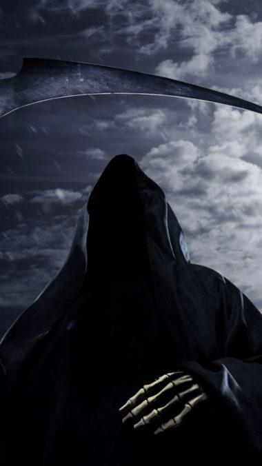 Faceless Death Scythe Rain Sky Night Moon 380x676