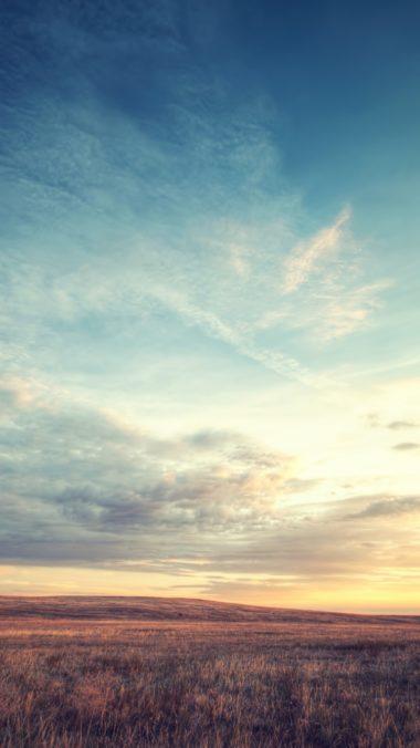 Field Dawn Sky Beautiful Scenery 380x676