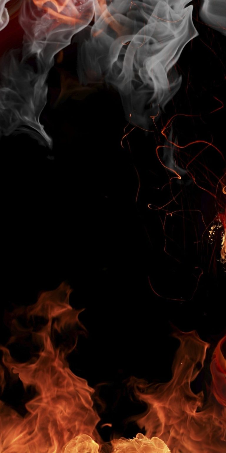 Fire Smoke Flowers Wallpaper 1080x2160 768x1536
