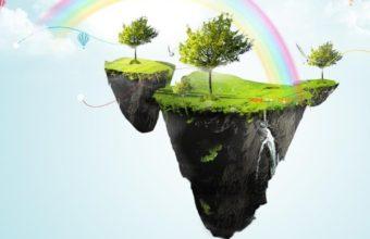 Floating Rainbow Island Wallpaper 720x1280 340x220