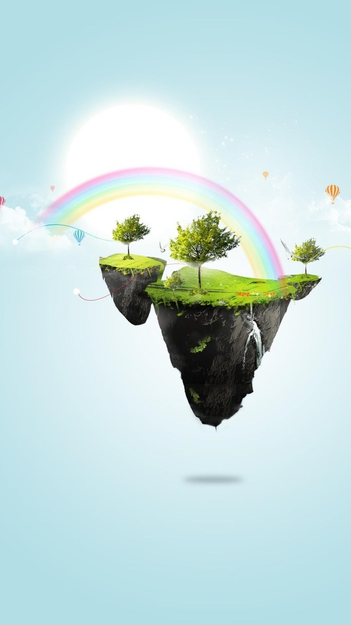 Floating Rainbow Island Wallpaper 720x1280