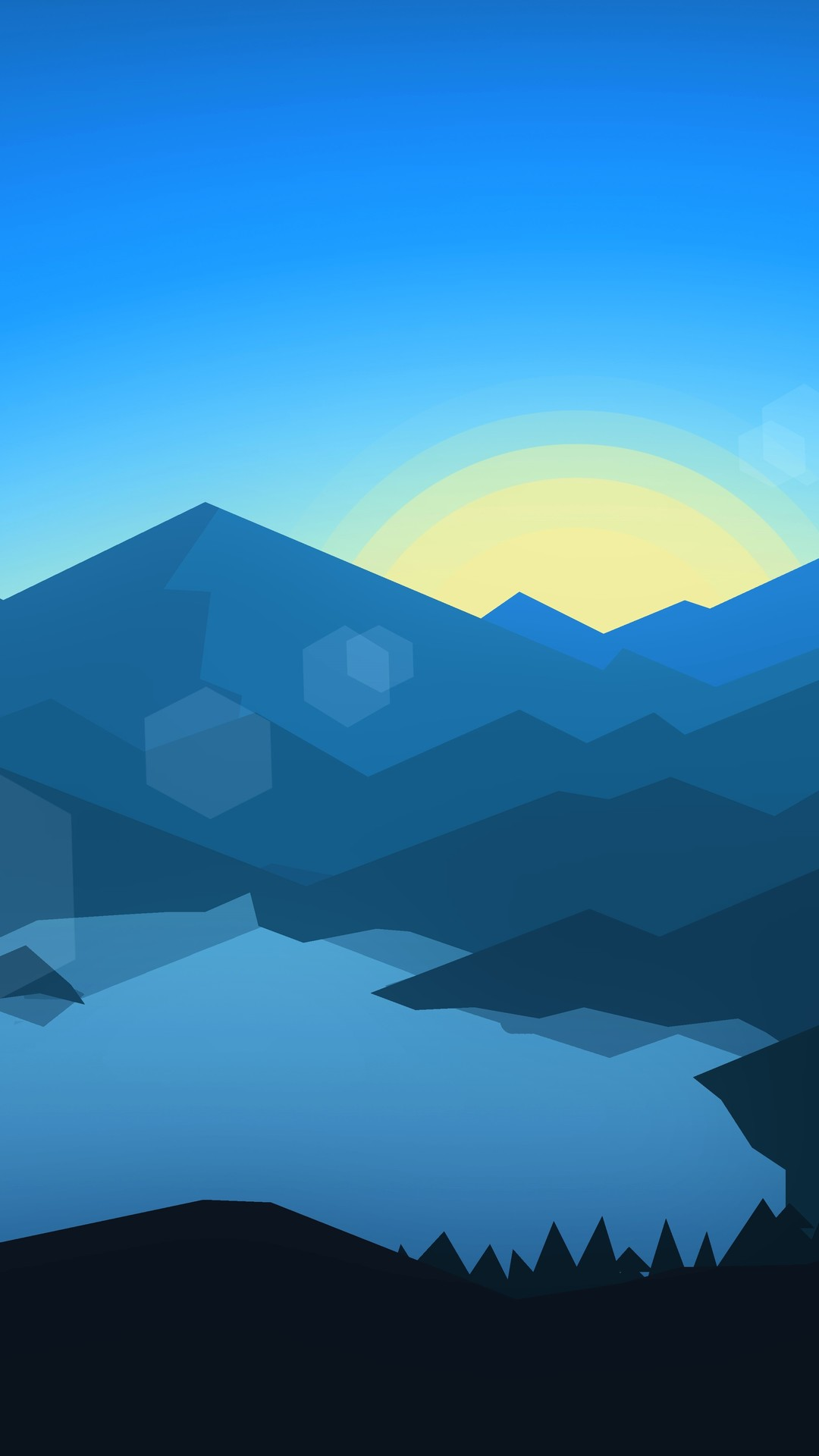 forest mountains sunset cool weather minimalism yn wallpaper