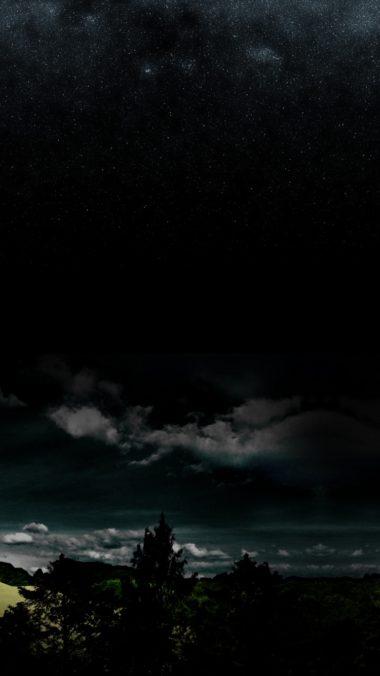 Full Moon Night Darkness Stars Wood Clouds 380x676