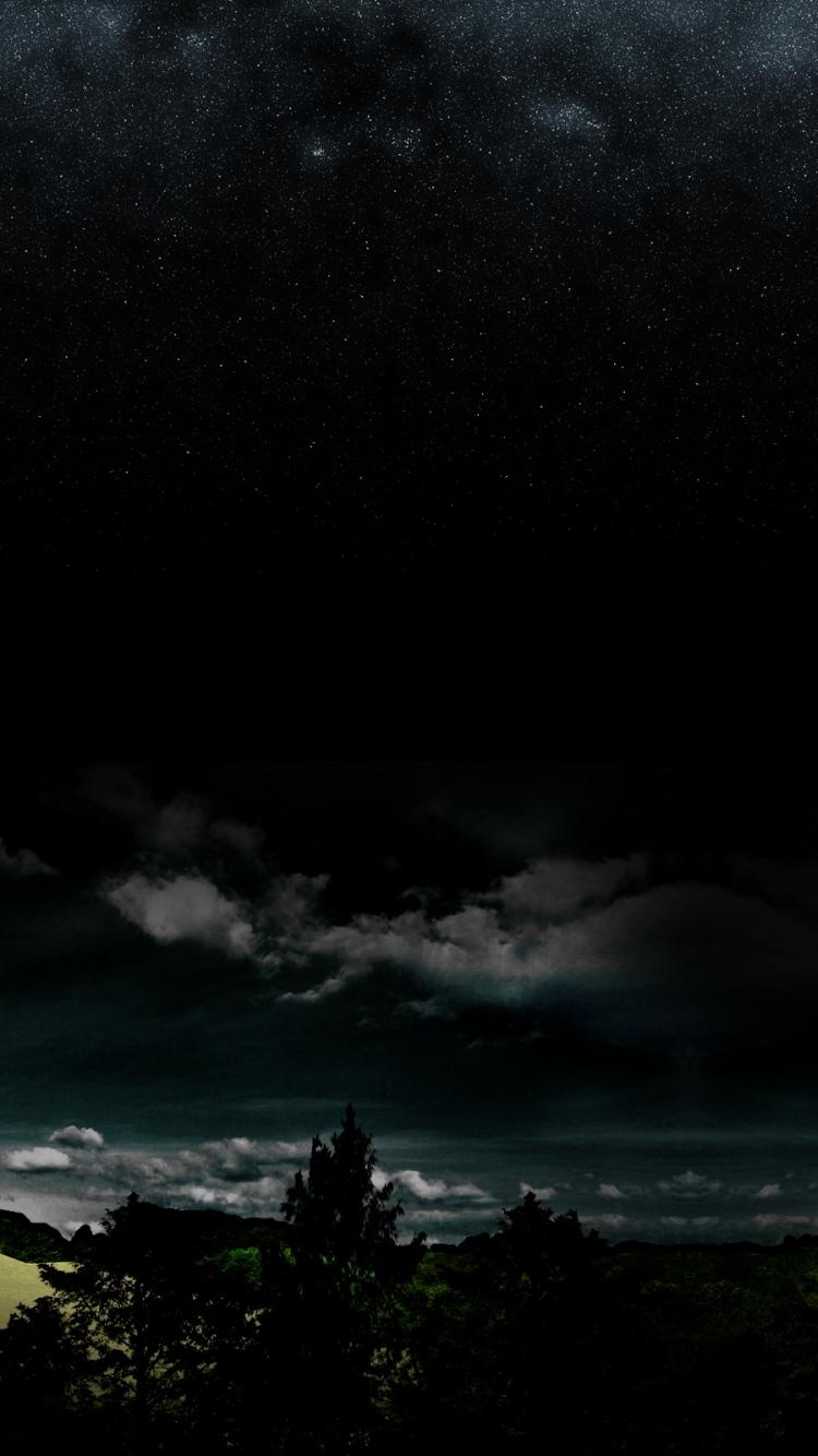 Full Moon Night Darkness Stars Wood Clouds