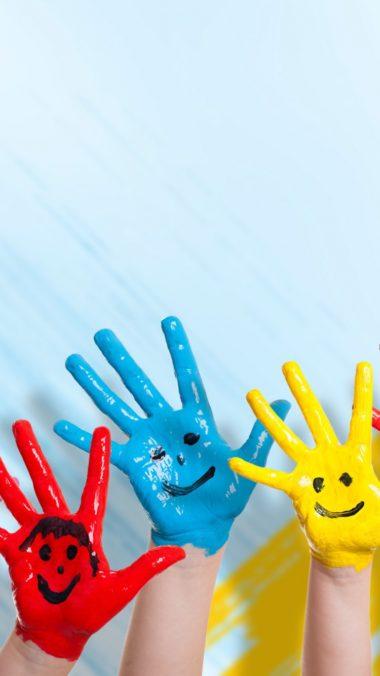 Hands Paint Children Happiness Positive Smile 380x676