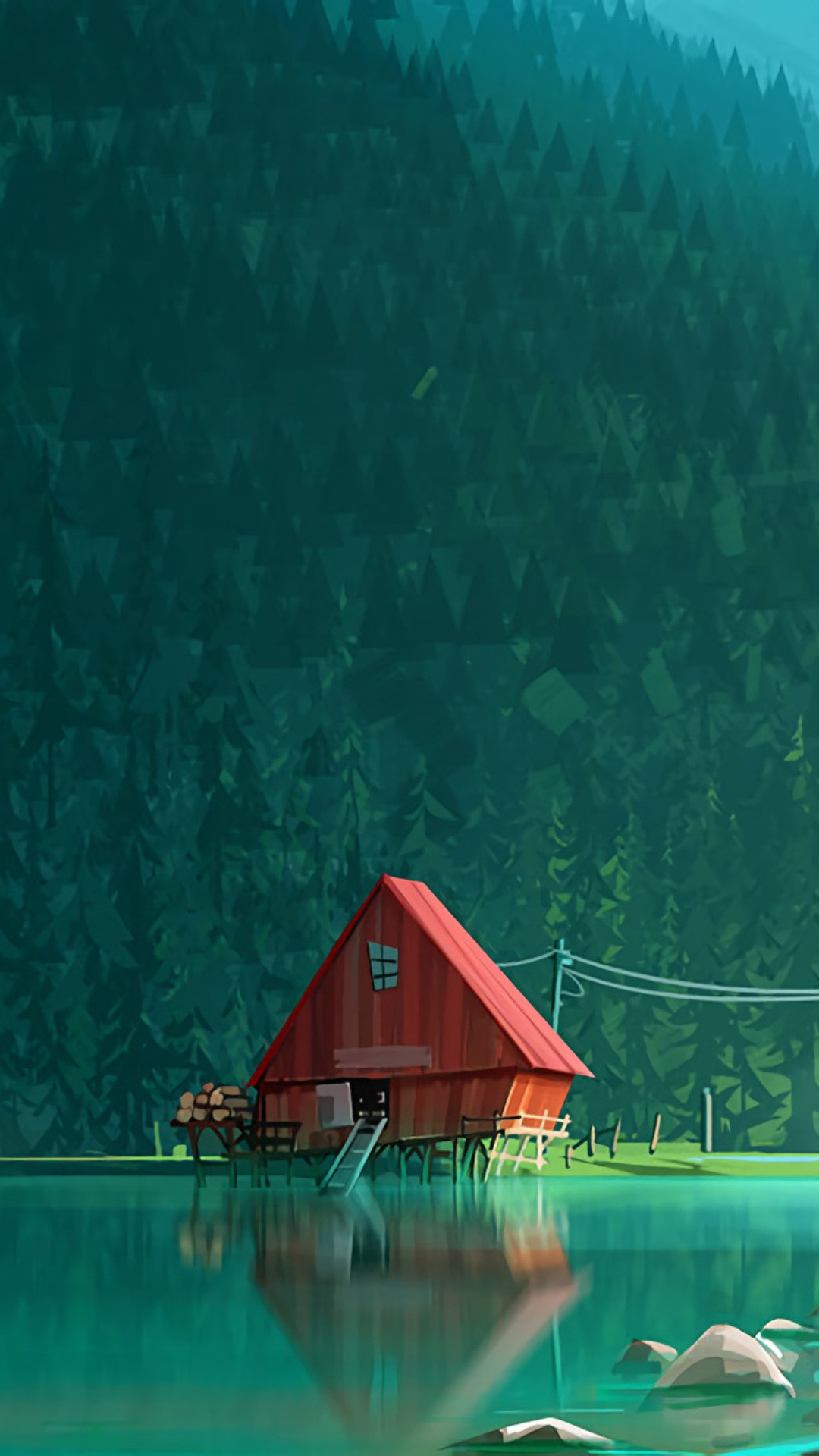 House In Woods Minimalism Artwork Kk Wallpaper 1080x1920