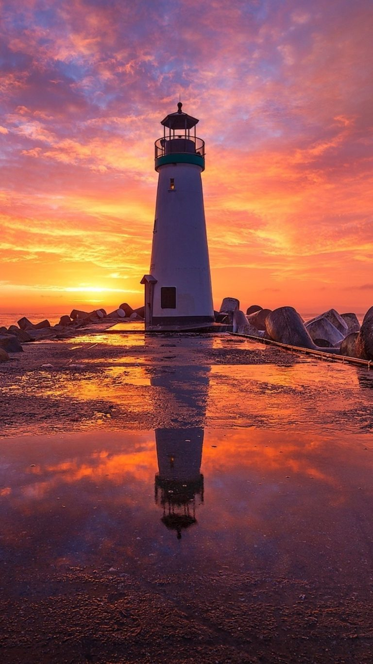 Lighthouse At Sunsrise Fi Wallpaper 1080x1920 768x1365