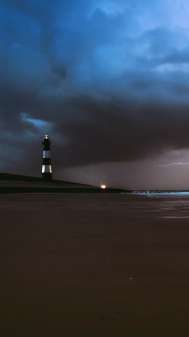 Lighthouse Lightning Sea Ocean Beach Weather Ef Wallpaper 2160x3840 380x676
