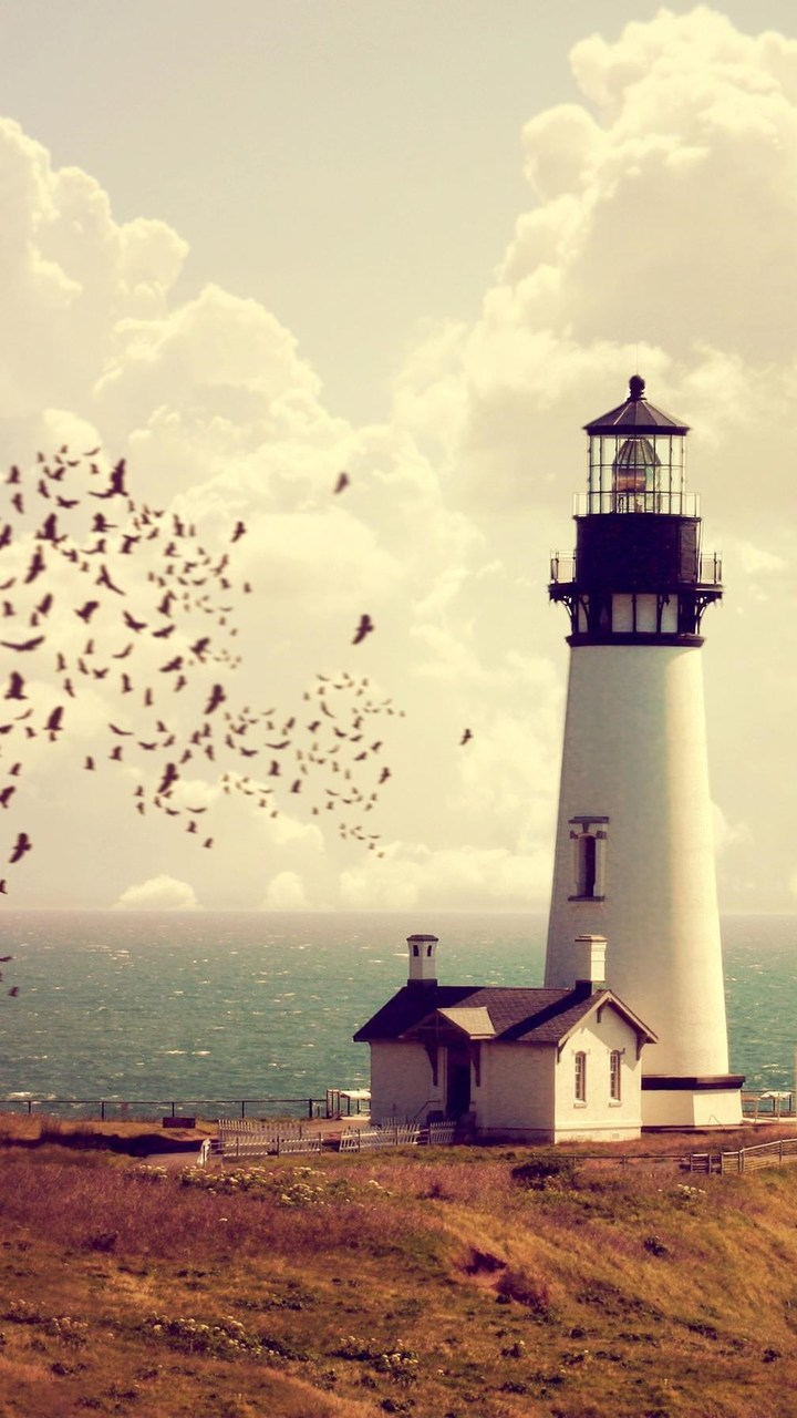 Lighthouse Tower Sea Horizon Wallpaper 720x1280