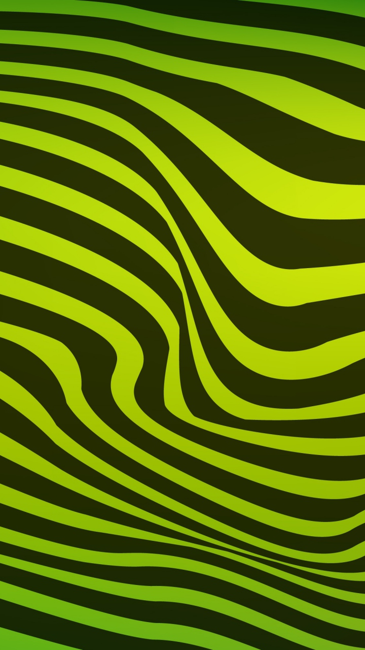 Lines Wavy Stripes Black Green Wallpaper 720x1280