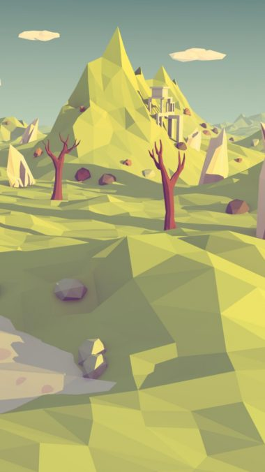 Low Poly Polygon Landscape Abstraction 380x676