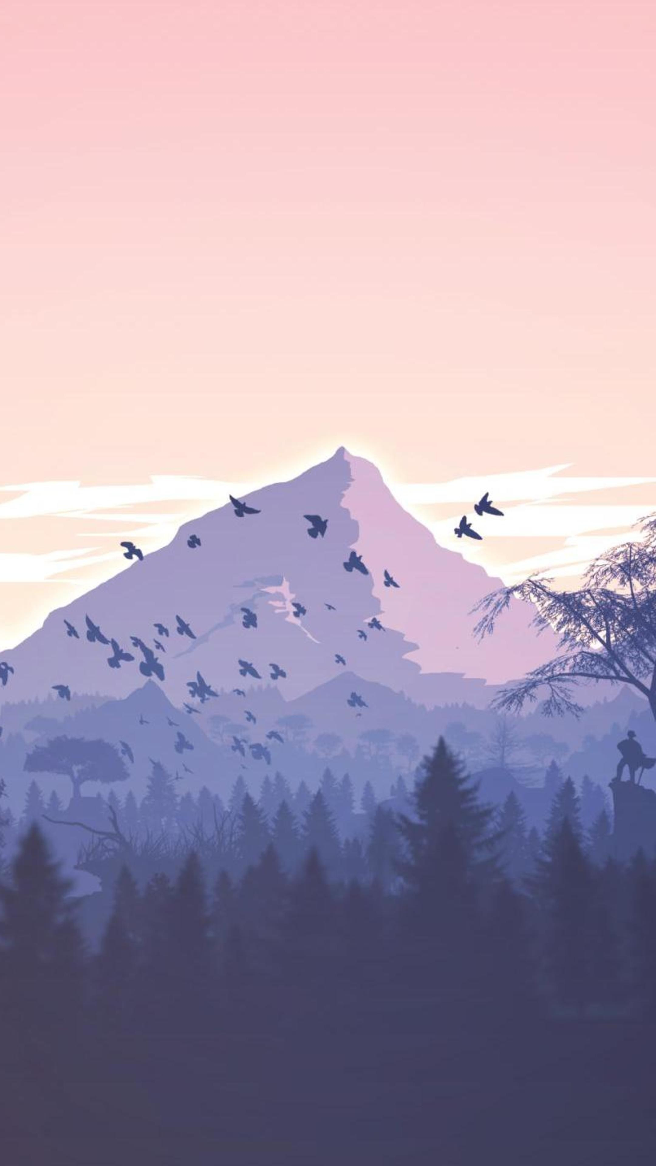 Minimalism Birds Mountains Trees Forest 9k Wallpaper