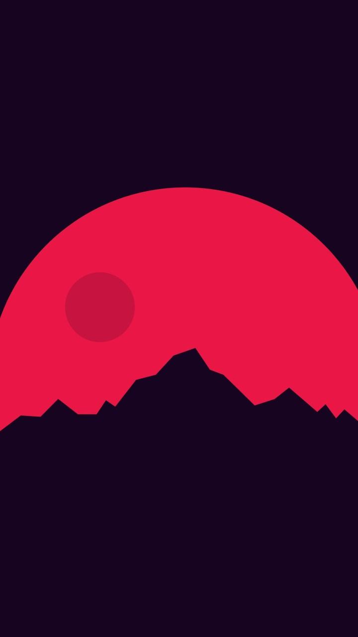 Minimalism Mountains Red Wallpaper 720x1280