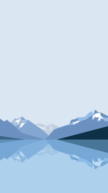 Minimalist Blue Mountains 8k 2x Wallpaper 1080x1920 380x676