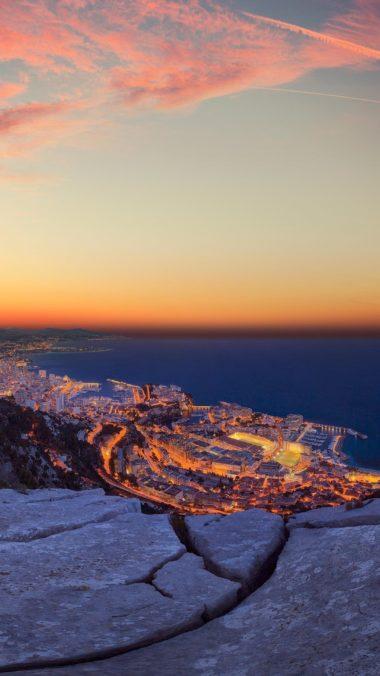 Monaco Rocks Top City View Image Wallpaper 2160x3840 380x676