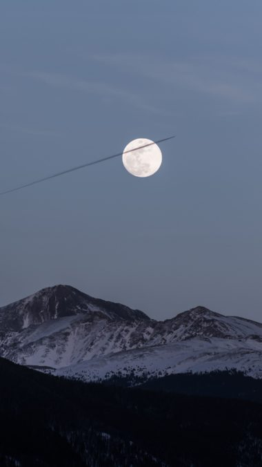Moon Over Snowy Mountains Kf Wallpaper 2160x3840 380x676
