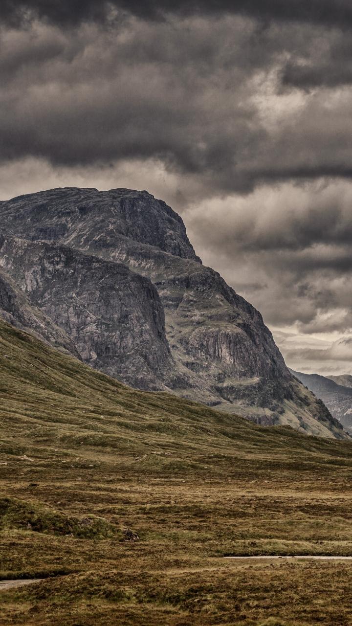 Mountains Clouds Cloudy Grass Wallpaper 720x1280