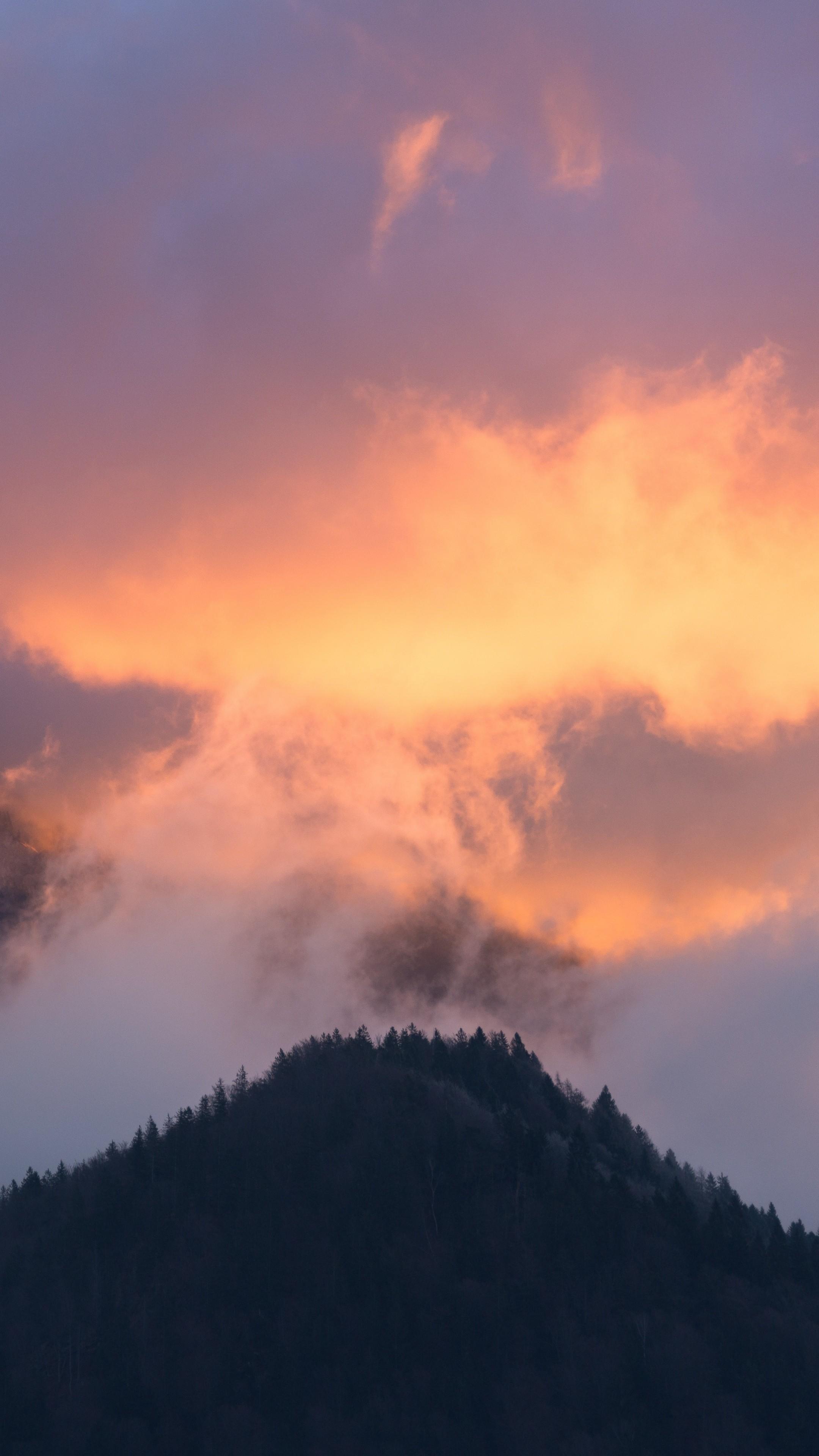 Mountains Fog Sky Trees Sunset Wallpaper - [2160x3840]