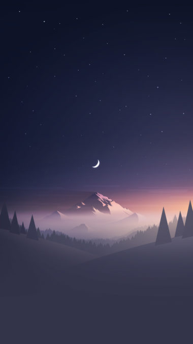 Mountains Moon Trees Minimalism Hd Wallpaper 1080x1920 380x676