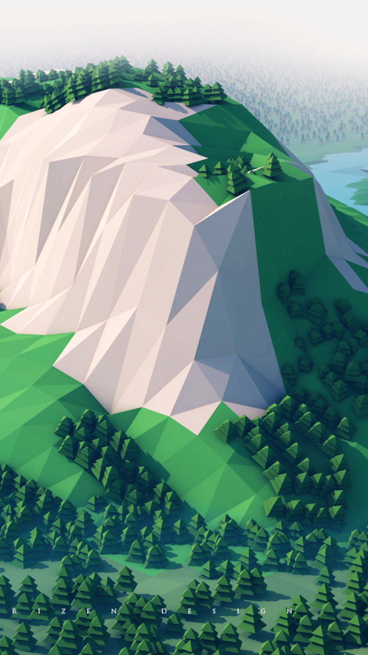 Mountains Trees Forest 3d Minimalism Ku Wallpaper 720x1280